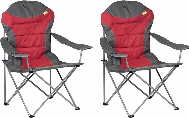 Kampa XL Chaise à dossier haut Rouge X 2