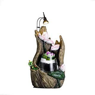 crapelles Tabletop Fountain Driftwood Stump Lotus Waterfall Indoor Resin and Glass humidifier Spring Cascading Water Illuminated Blossom with LED Light Show