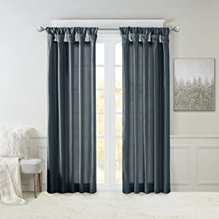 Madison Park Emilia Faux Silk Curtain with Privacy Lining, DIY Twist Tab Top, Window Drapes for Living Room, Bedroom and D...