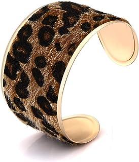 LIAO Jewelry Leopard Cuff Bracelet for Women Horse Hair Leather Wide Gold Open Bangle Bracelets