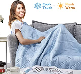 APSMILE Reversible Throw Blanket for Couch, Sofa, Bed - Summer Cool Touch and Plush Warm Quilted 2 in 1 (59x79, Blue)