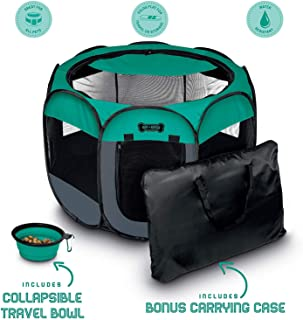 Ruff 'n Ruffus Portable Foldable Pet Playpen + Carrying Case & Collapsible Travel Bowl | Indoor / Outdoor use | Water resistant | Removable shade cover | Dogs / Cats / Rabbit | Available In 3 Sizes