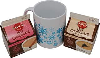 Aspen Mulling Spices Hot Chocolate, Mexican Hot Chocolate (3.4oz.) and 11oz. Holiday Snowflake Gift Mug Bundle