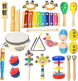 آلات موسیقی نوک تیز - Ehome 15 نوع 22pcs آلات موسیقی سازهای زهی چوبی اسباب بازی برای کودکان و نوجوانان آموزش و پرورش پیش دبستانی، اسباب بازی های موسیقی برای پسران و دختران با کوله پشتی ذخیره سازی
