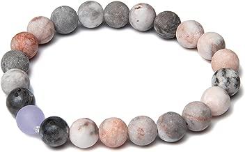 Mala Bead Bracelet - 8mm Pink Zebra Jasper Labradorite Lavender Jade Stones - Meditation, Mindfulness, Yoga - Reduce Stress and Anxiety