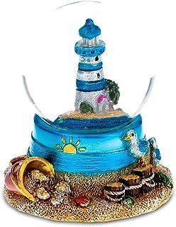 "CoTa Global Resin Stone Cool Summer Lighthouse Coastal Snow Globe (45mm), 2.75"" Marine Nautical Glass Statue Art Handcrafted Glitter Dome Tabletop Sculpture Desk Centerpiece Accent - Ocean Home Décor"