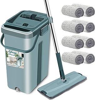 Aifacay Floor Mop with Bucket Upgrade Hands-Free Squeeze Microfiber Mop System 360°..