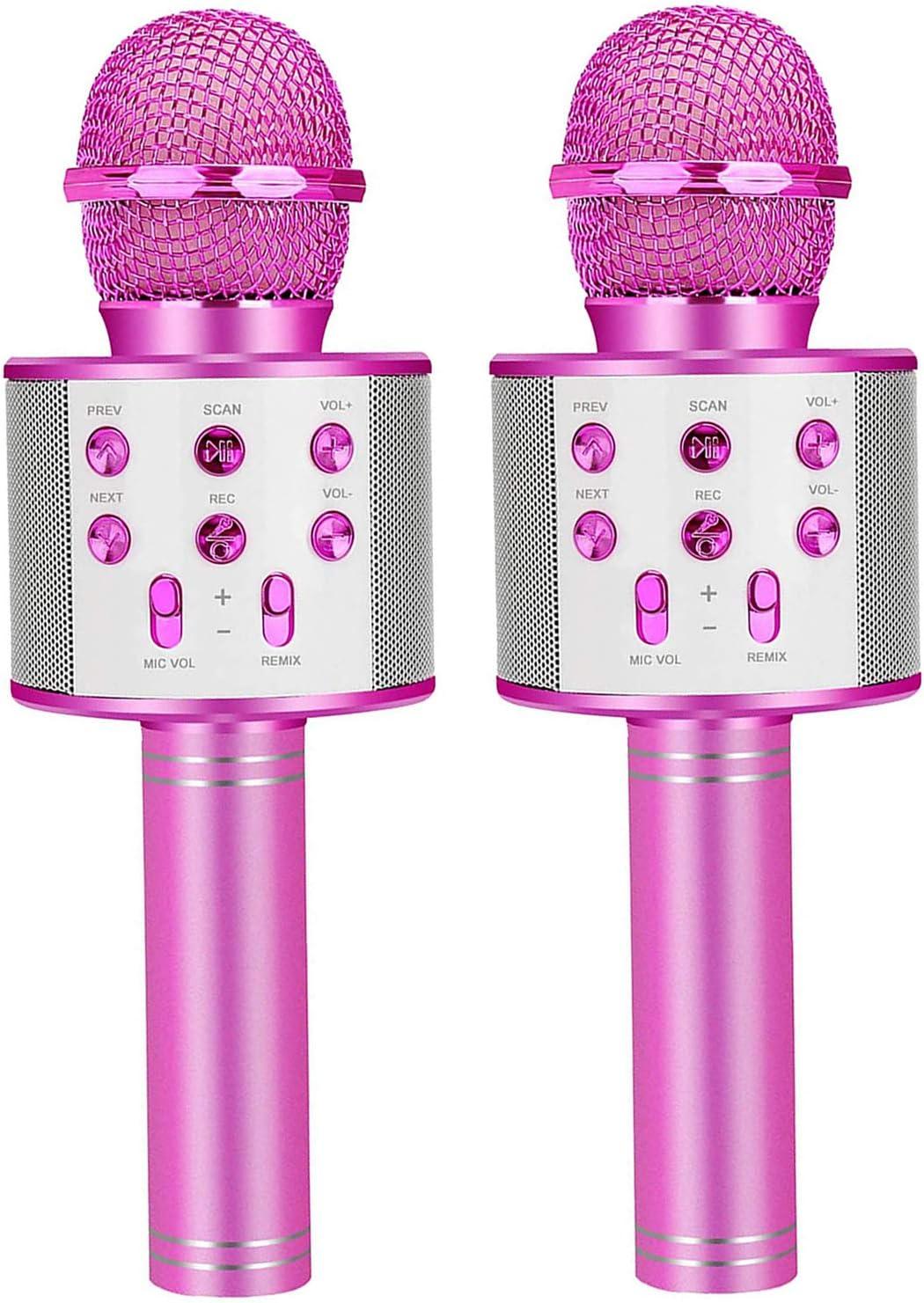Wireless Karaoke Microphone for Kids Portable Bluetooth Speaker Mic Birthday Gift Toys for 3-12 Year Old Girls Boys Recording Magic Singing Karaoke Machine