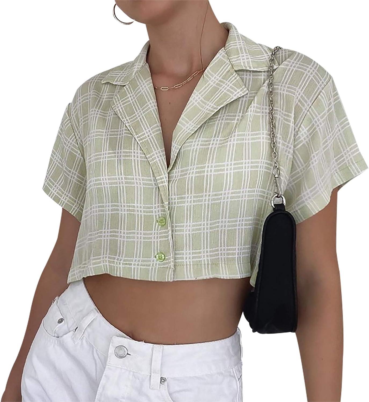 Womens Short Sleeve Plaid T Shirt Blouse Tee Vintage V Neck Button Down Crop Top Cardigan