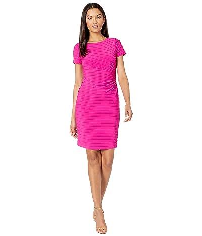 Adrianna Papell Matte Jersey Pintucked Draped Dress (Hot Pink) Women
