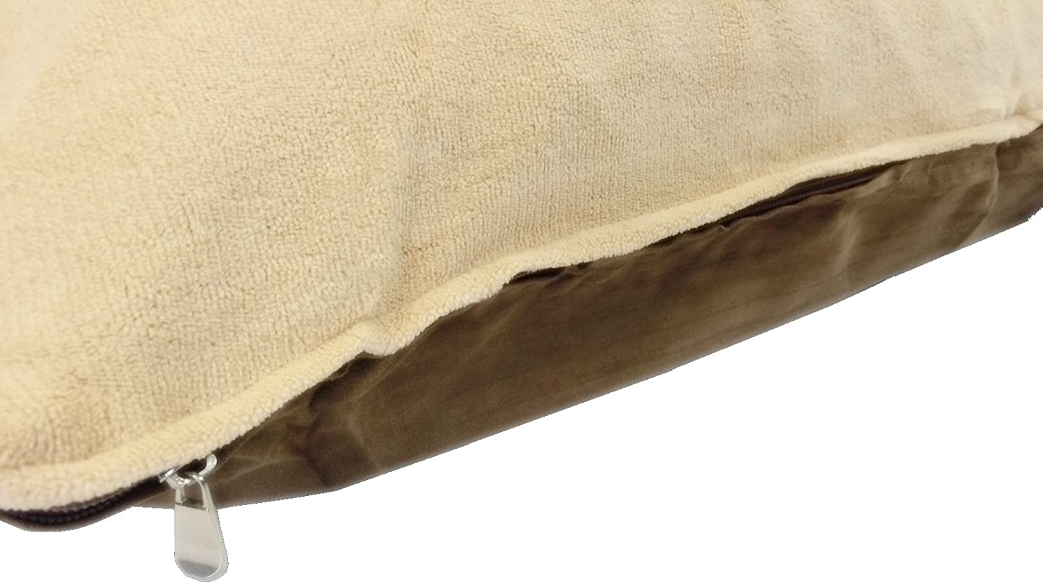 36 x29  Medium Size Removable Zippered Luxurious Soft Fleece Beige   Brown Suede Cover Case for Small to Medium Dogs  External Cover Only