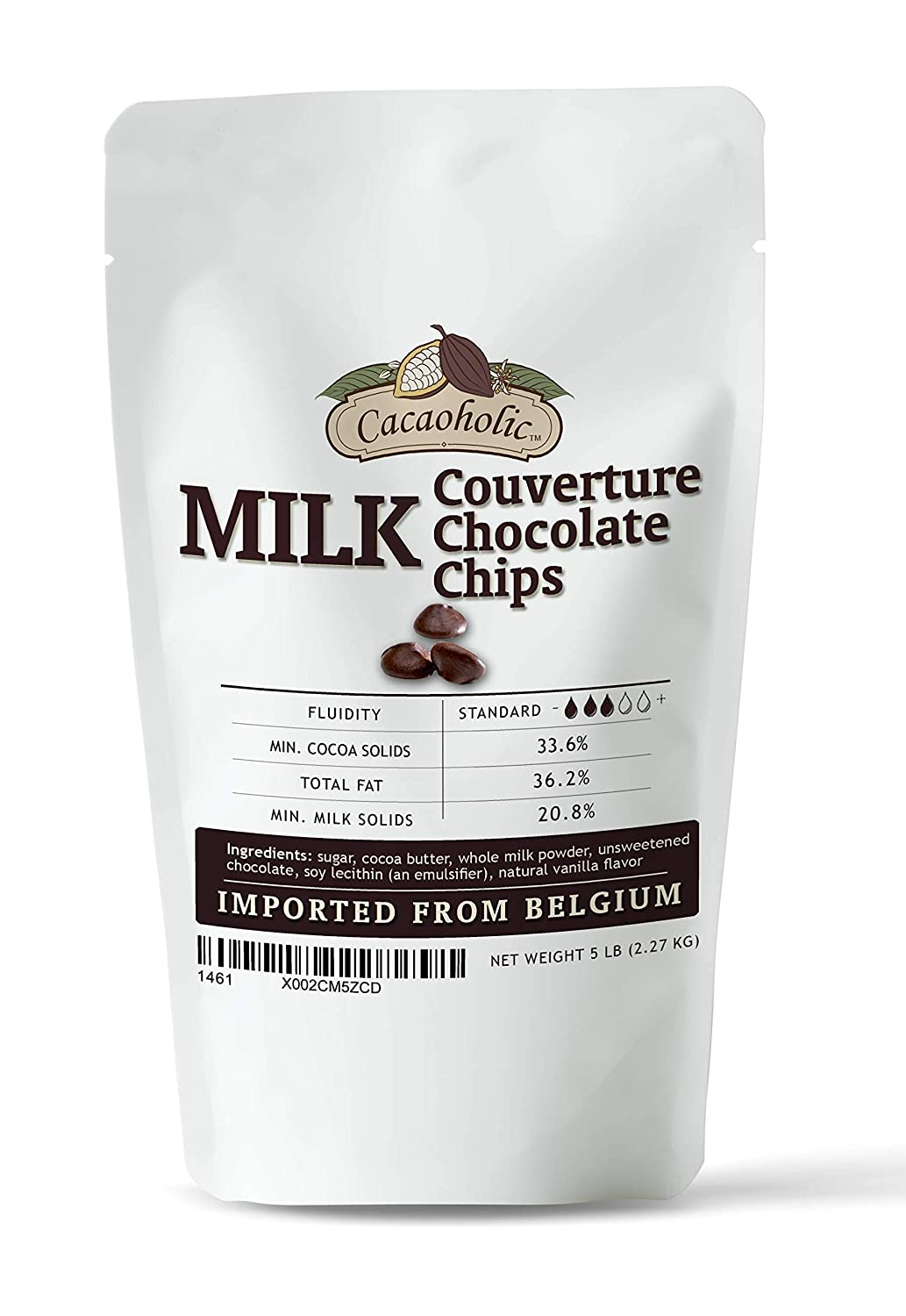 5 Milwaukee Mall LB specialty shop Cacaoholic Milk Couverture Chips Low Chocolate Fluidity