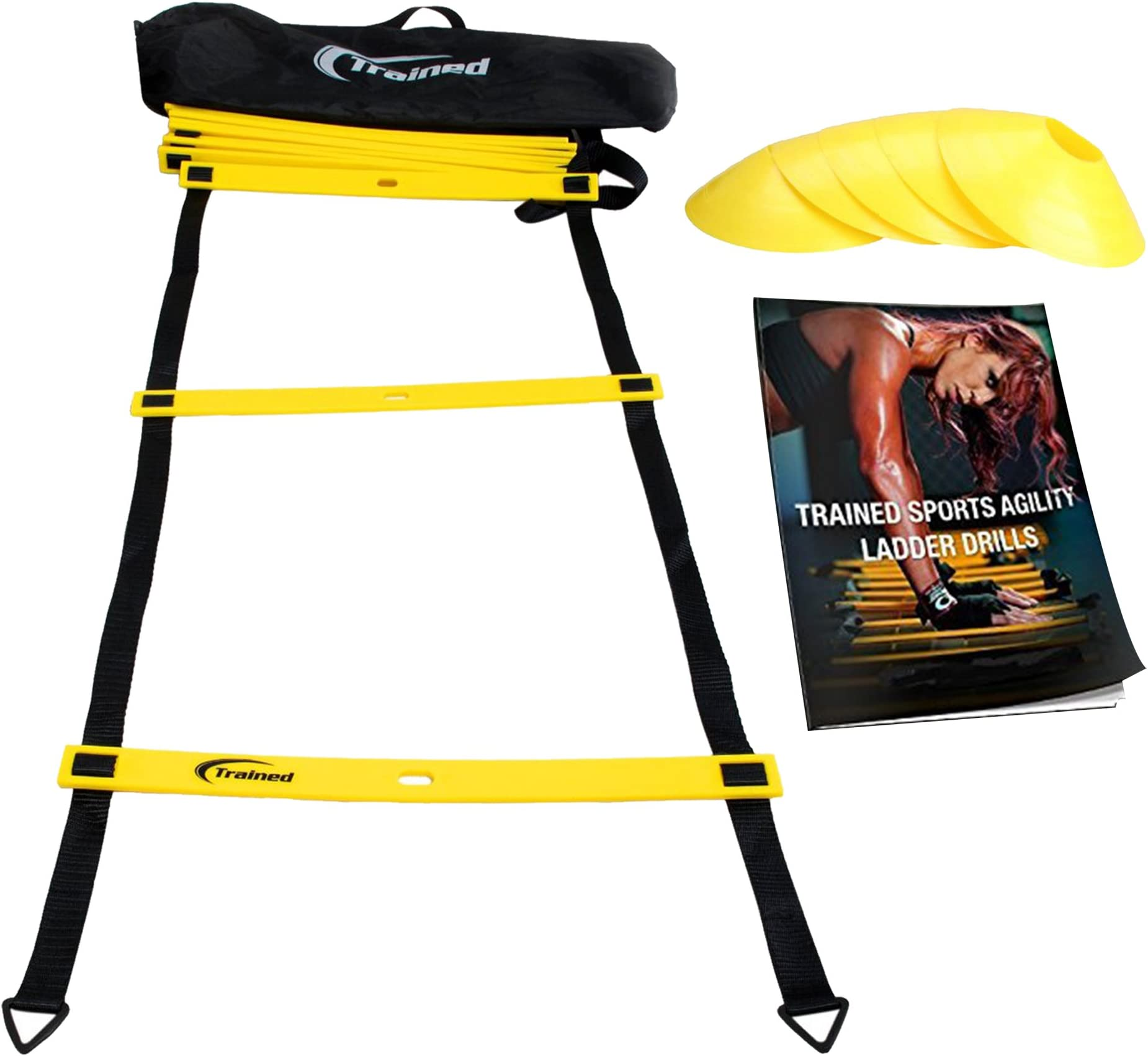 Trained Agility Ladder Bundle 6 Sports Cones, 2 Agility Drills eBook and Carry Case