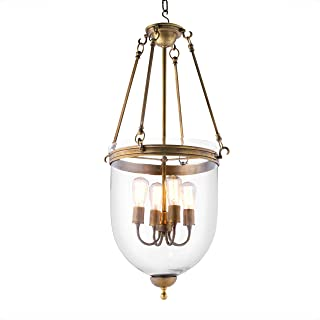 Georgian Vintage Brass Haning Lantern   Eichholtz Cameron   4-Light Glass Dome Ceiling Lamp   Modern Luxury Chandelier Lighting for Entryway, Living Area & Dining Room