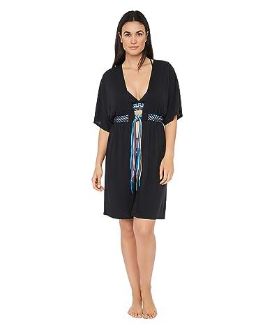 La Blanca Macrame Solids Belted Kimono Dress Swimsuit Cover-Up (Black Moon) Women
