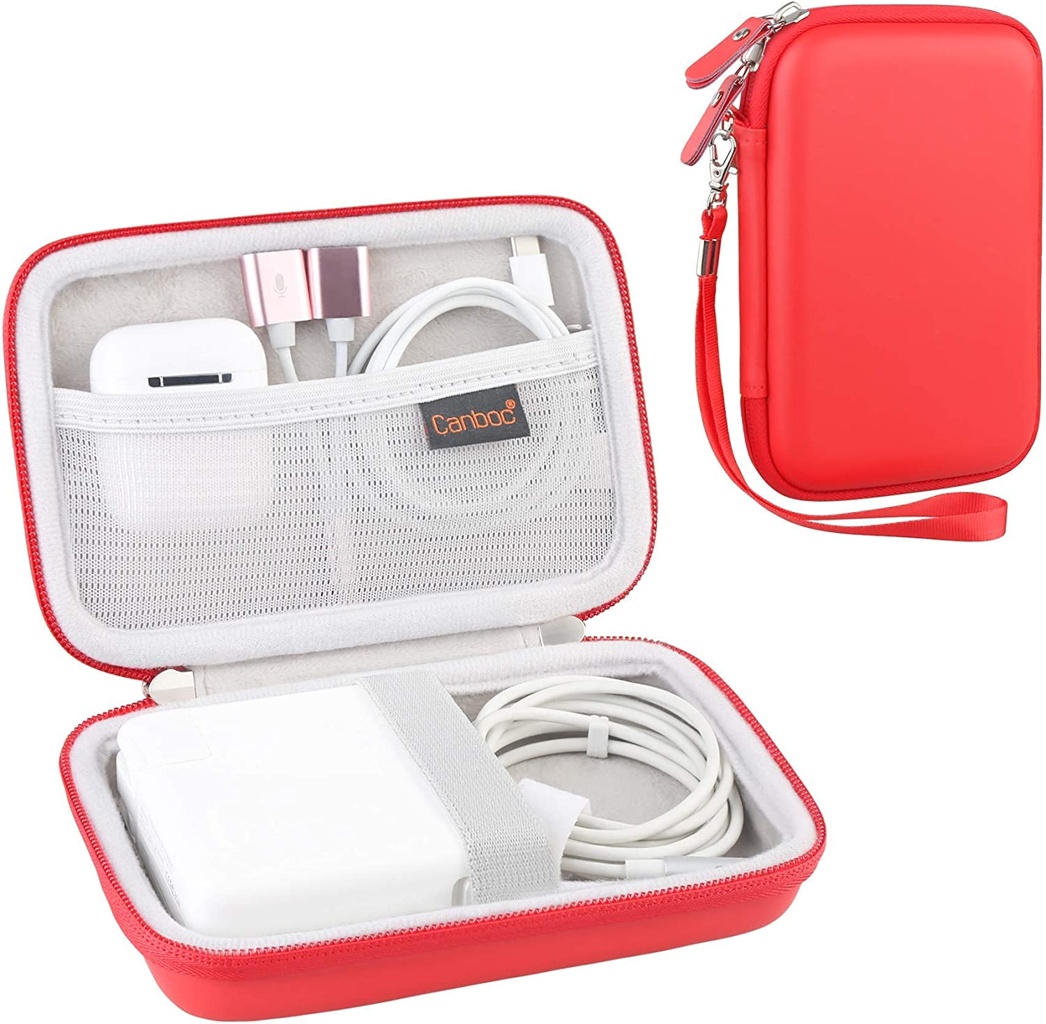 Canboc Carrying Case for MacBook Air Pro Charger MagSafe/MagSafe 2 Power Adapter, iPhone 12/12 Pro MagSafe Charger, USB C Hub, Type C Hub, USB Multiport Adapter, Hard EVA Shockproof Bag, Red