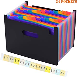 Carpeta Clasificadora Extensible Archivador Acordeon, GXR Carpetas de Acordeón,24 Bolsillos Clasificadores Carpetas de Acordeón,Colores Archivador Documentos Organizador para Escolares/Oficina/Casa