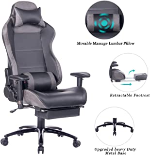 HEALGEN Massage Gaming Chair Office Chair with Heavy Duty Metal Base,Reclining High Back PU Leather PC Computer Racing Desk Chair with Footrest and Lumbar Support (8263 Grey)