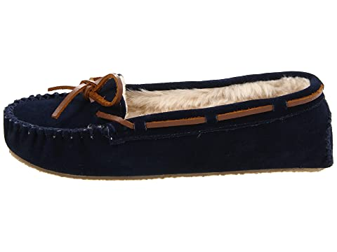 Minnetonka Cally Slipper Dark Navy Suede Buy Cheap Real Outlet Store Locations Sale Prices Low Price For Sale Cheap Free Shipping IpN7F3kb2