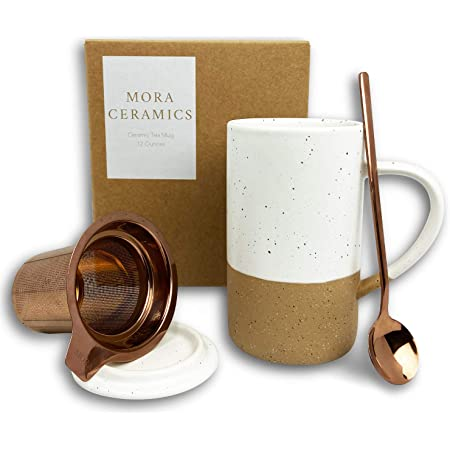 Mora Ceramics Tea Cup with Loose Leaf Infuser, Spoon and Lid, 12 oz, Microwave and Dishwasher Safe Coffee Mug - Rustic Matte Ceramic Glaze, Modern Herbal Tea Strainer - Great Gift for Women, Petro