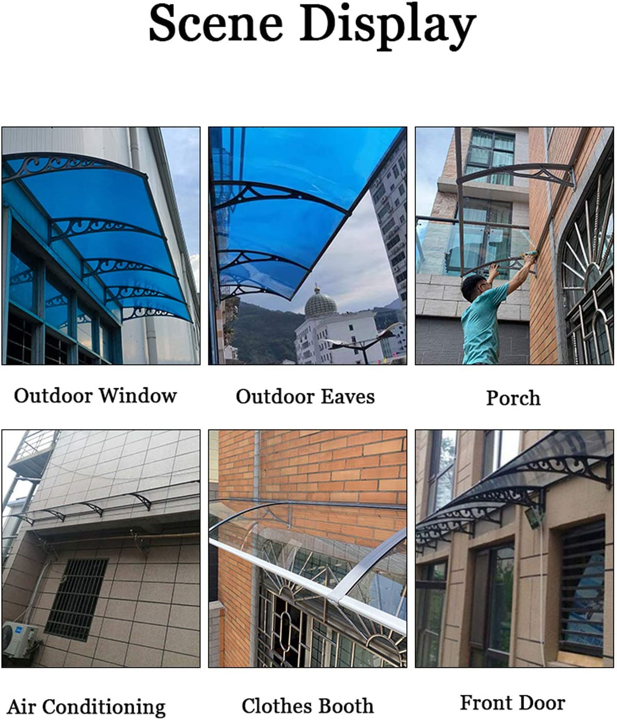 Door Awning Awning Rain Shelter Canopy Awning for Door Window Robust Hollow PC Board Transparent