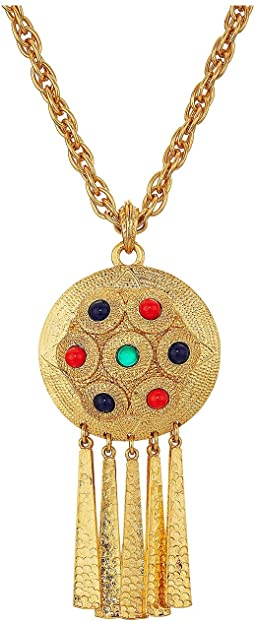 "28"" Satin Gold Multicolor Cabachon Pendant Necklace"