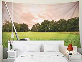 TOMWISH Tapestry Wall Hanging, Tapestries Decoration Hanging Wall Bedroom and Home Décor Dorm a Golf Ball onto The Green with Club at Sunset Copy Space 80x60 Inch