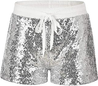 145817951f Pantaloncini Paillettes Donna Moda Sexy Pantaloni Corti con Tasche e  Coulisse Tempo Libero Shorts Brillantini Pantaloncine