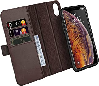 ZOVER Detachable Wallet Case Compatible with iPhone Xs Max with Auto Sleep/Wake Kickstand Feature RFID Blocking Genuine Leather Cards Bison Fone Slots Magnetic Clasps Gift Box Dark Brown