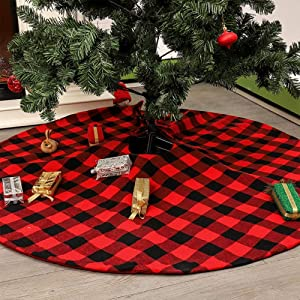 Atiming Buffalo Check Christmas Tree Skirt 35.4 Inches Red and Black Plaid Xmas Tree Skirt Mat Decor for Christmas Holiday Party New Year Xmas Decoration (Red and Black, 35.4inch/90cm)