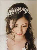 SWEETV Handmade Rhinestone Wedding Headband Flower-Leaf Bridal Headpieces for Wedding Pearl Hair Accessories (Silver)