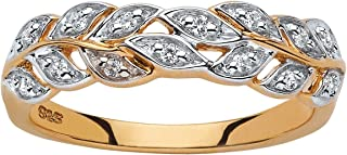 18K Yellow Gold over Sterling Silver Round Genuine Diamond Leaf Ring (1/8 cttw, I Color, I3 Clarity)