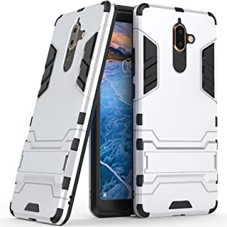 Case for Nokia 7 Plus (6 inch) 2 in 1 Shockproof with Kickstand Feature Hybrid Dual Layer Armor Defender Protective Cover (Silver)