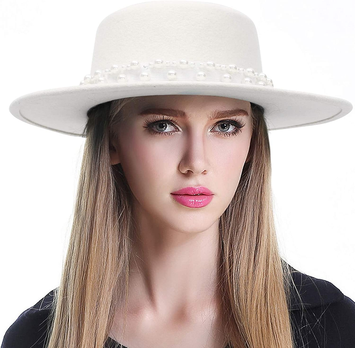 EOZY Women's 100% Wool Fedora Hat Pearl Band Panama Jazz Hat Church Derby Party Hats
