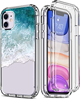 IKAZZ iPhone 11 Case with Built-in Screen Protector,Clear TPU Bumper Cover with Fashionable Floral Designs for Girls Women...