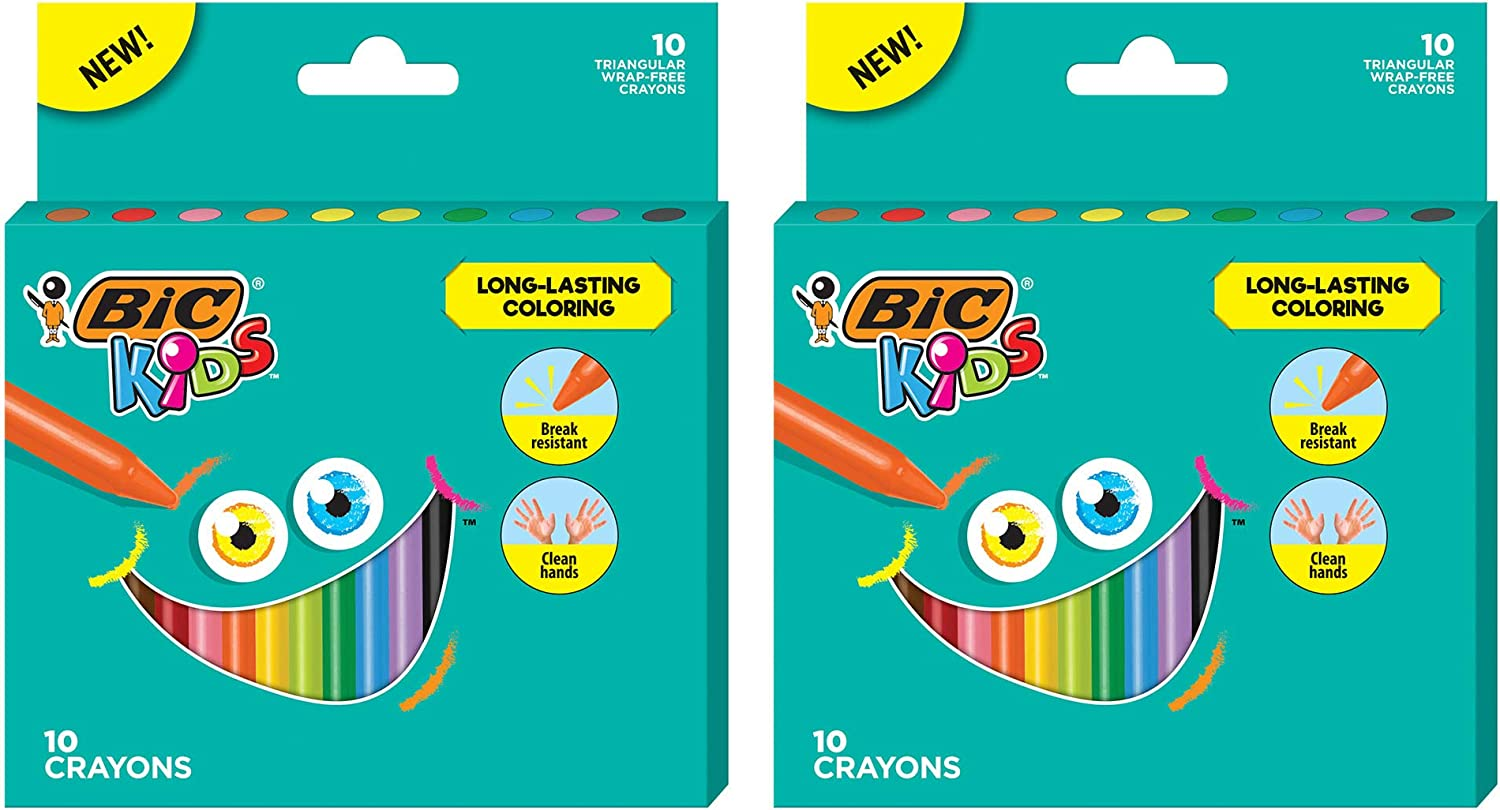 BIC Kids Crayons, Easy Hold Triangular Shape, Break Resistant, Wrap-Free, Assorted Colors, 24-Count - Pack of 2: Office Products