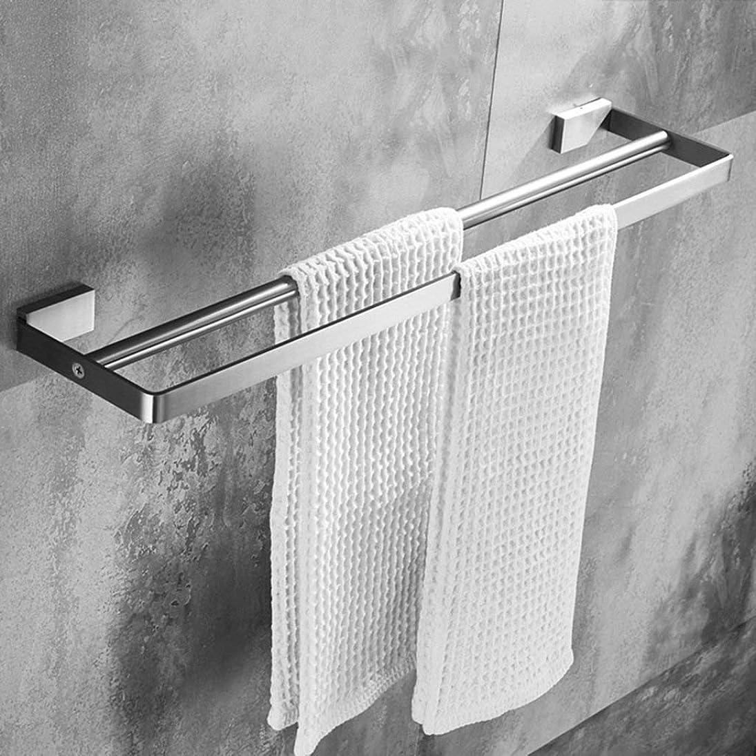 シリンダー抜け目のない石油浴室のタオルラック ダブルタオルバーウォールは、バスルームやキッチン(60センチメートル)のために304ステンレス鋼のタオルラックつや消し仕上げをマウント バスルーム収納ラック