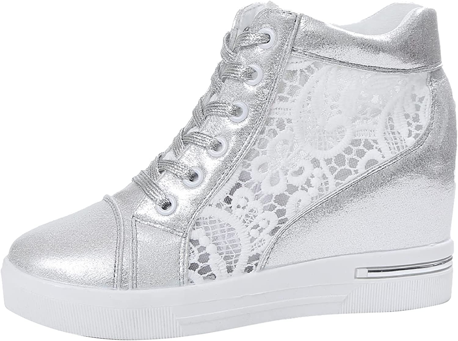 Women Wedge Platform Sneakers Rubber Leather Increasing Lace Sho