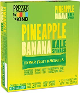 Pressed by KIND Fruit Bars, Pineapple Banana Kale Spinach, No Sugar Added, Non GMO, Gluten Free, 1.2 Ounce (12 Count)