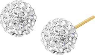 Glitter Ball Stud Earrings with Swarovski Crystals in 14K Gold