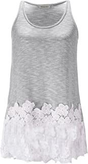 Anna-Kaci Women's Lace Trimmed Tank Tops Casual Loose Fit Sleeveless Camisoles Dress