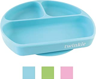 Twinkle Plato de Silicona con Ventosa para Bebe - Plato Infantil Antideslizante con Succion para BLW y Aprendizaje Bebes
