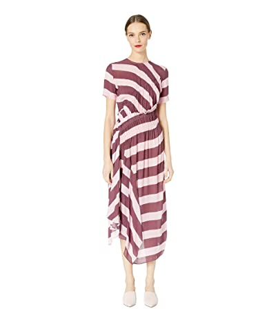 Preen by Thornton Bregazzi Sida Dress (Burgundy/Pink Stripe) Women