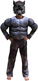 Child Muscle Wolf Suits Werewolf Costume for Boys Kids Halloween Wolf Costumes with Wolf Mask Monster Dress up