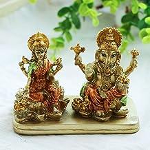 AliKiki Hindu Lord Ganesha Lakshmi Statue – Indian God Laxmi Ganesh Murti Item Home Temple Puja Pooja Idol Diwali Gift - I...