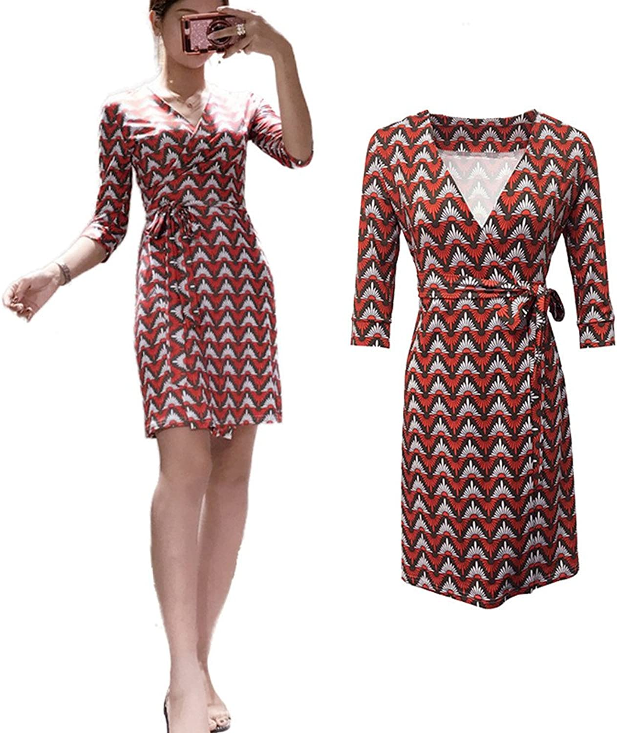 XC DVF Summer Women Vintage Floral Print Dress 3 4 Sleeve Midi Wrap Dress with Belt