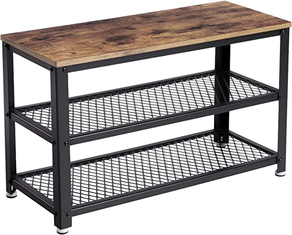 VASAGLE Industrial Shoe Bench 3 Tier Shoe Rack Storage Organizer With Seat Industrial Wood Look Accent Furniture With Metal Frame For Entryway Living Room Hallway ULBS73X