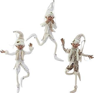 "Raz 30"" Cream Posable Christmas Elves Set of 3"