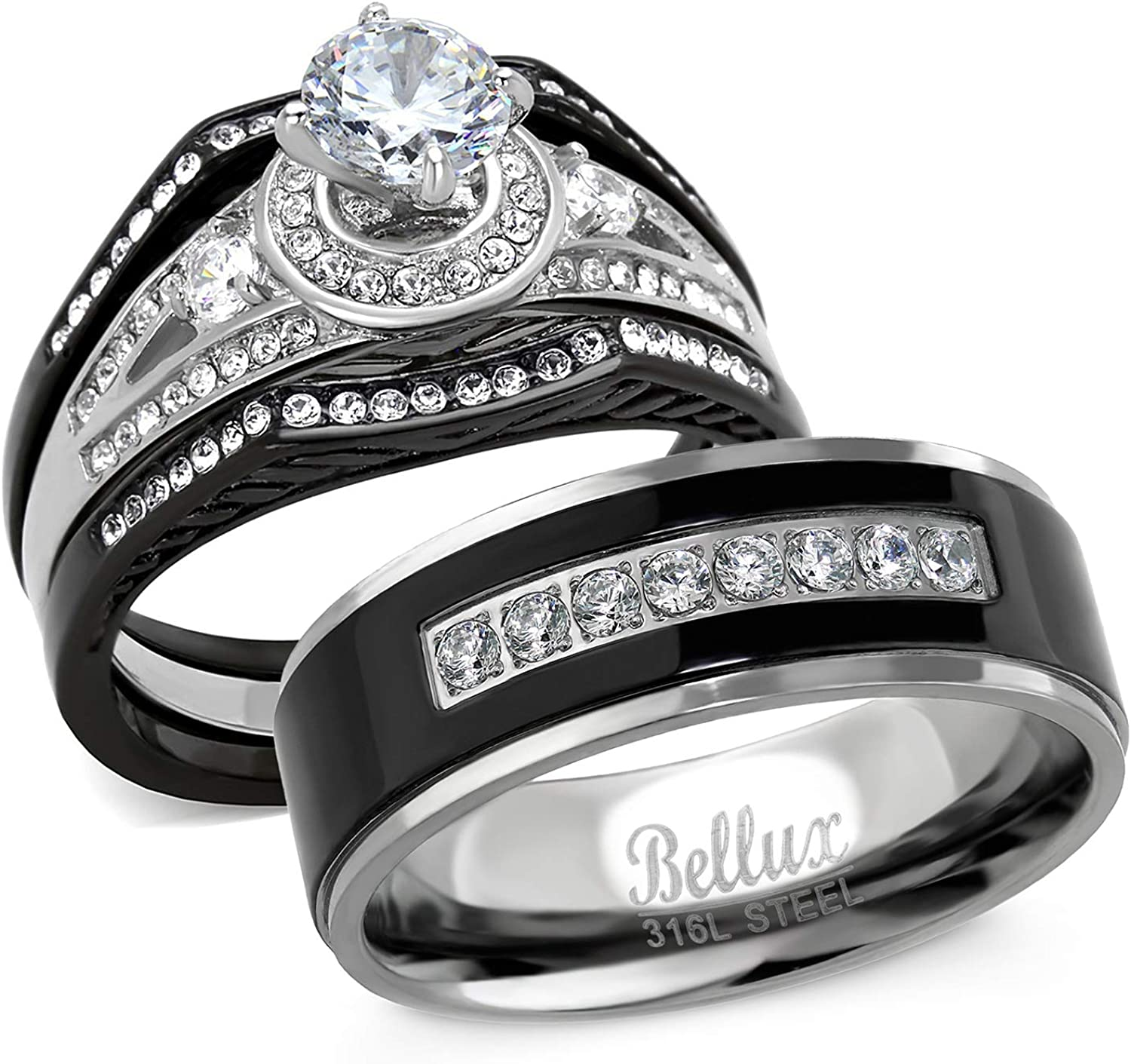 Bellux Very OFFer popular Style His and Hers Wedding Ring CZ Sets Steel Stainless P