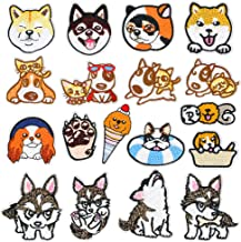 WZT 18 Pcs Dog Iron On Patches Embroidered Appliques DIY Decoration or Repair,Sew On Patches for Clothing Backpacks Bookbag Jeans T-Shirt Caps Shoes